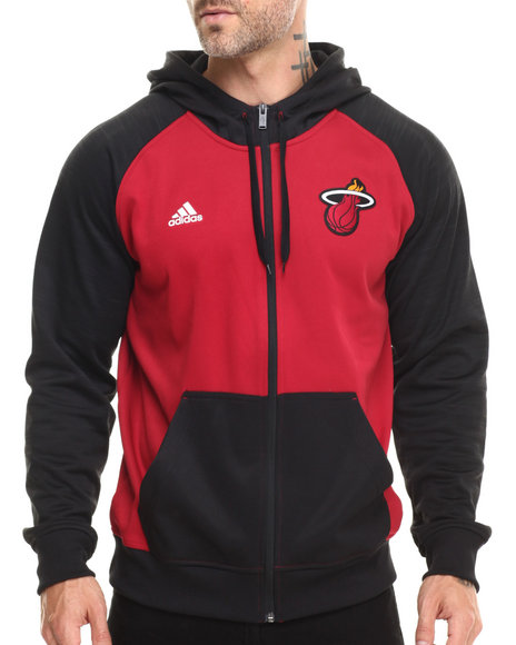 Adidas - Men Black Miami Heat Pre Game Hooded Jacket