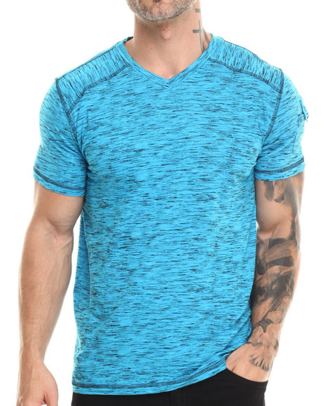 Buyers Picks - Men Blue S/S V-Neck Tee