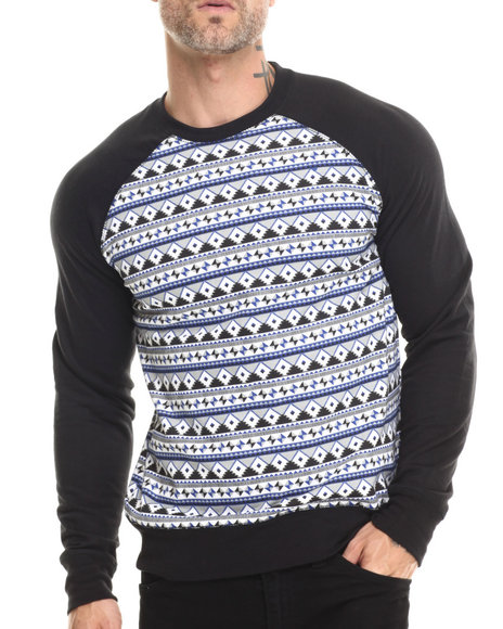 Buyers Picks - Men Black Geo Aztec Raglan Sweatshirt