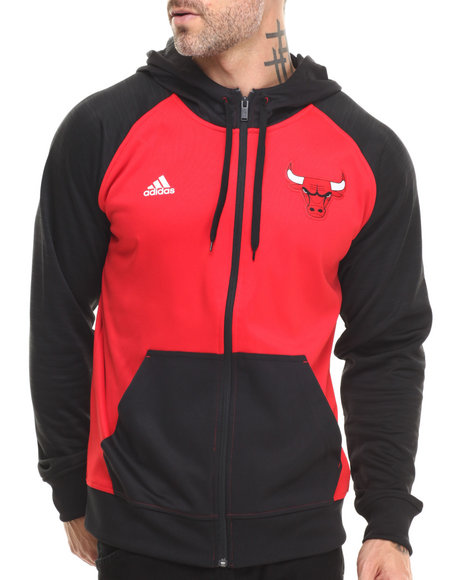 Adidas - Men Red Chicago Bulls Pre Game Hooded Jacket