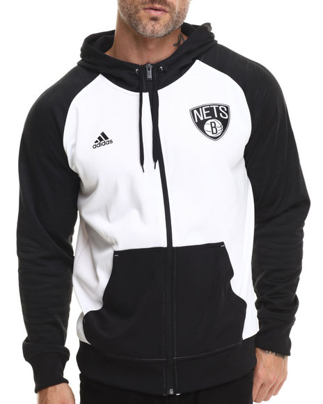 Adidas - Men White Brooklyn Nets Pre Game Hooded Jacket