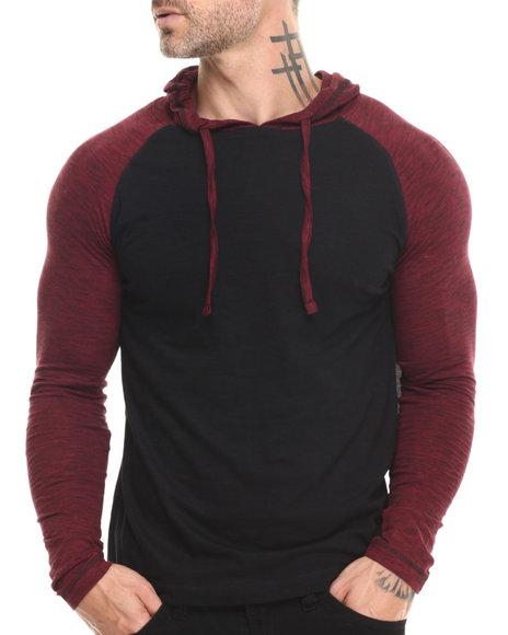 Buyers Picks - Men Red End-On-End Slub Pullover Raglan Hoodie