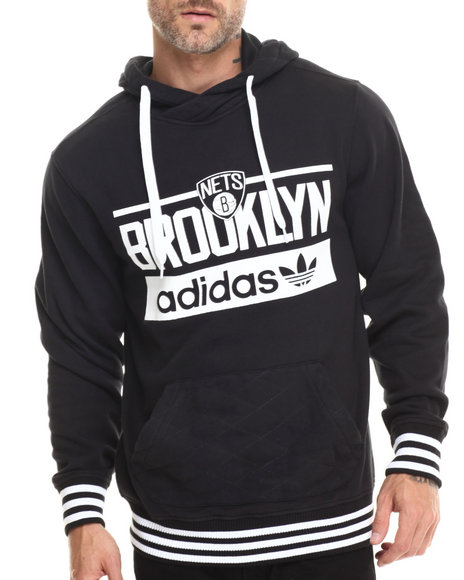 Adidas - Men Black Brooklyn Nets Originals Pullover Hoody - $75.00