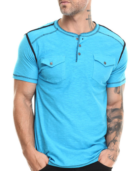 Buyers Picks - Men Blue S/S Henley Slub Tee