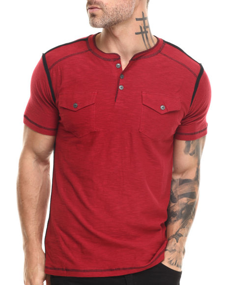 Buyers Picks - Men Red S/S Henley Slub Tee