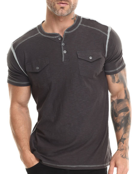 Buyers Picks - Men Charcoal S/S Henley Slub Tee