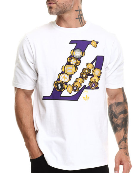 Adidas - Men White Los Angeles Lakers Sixteen Rings Tee