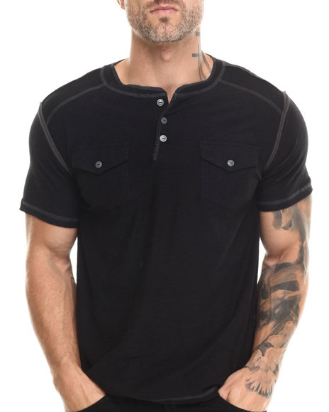 Buyers Picks - Men Black S/S Henley Slub Tee