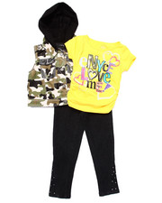 Girls - 3 PC SET - HOODED VEST, TEE, & JEANS (4-6X)