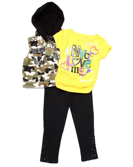 Enyce - Girls Camo,Yellow 3 Pc Set - Hooded Vest, Tee, & Jeans (4-6X)