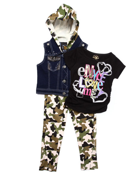 Enyce - Girls Black,Camo 3 Pc Set - Hooded Vest, Tee, & Jeans (4-6X)