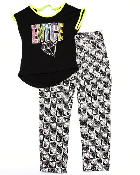 Enyce - Girls Black 2 Pc Checkered Set (4-6X)