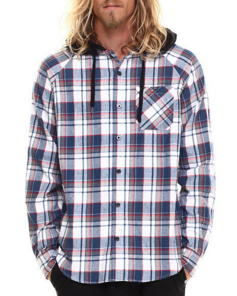 Ecko - Men Navy Flannel Jersey Lined Hooded L/S Button-Down