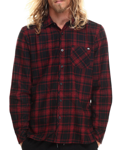 Ecko - Men Red Bias Placket L/S Button-Down