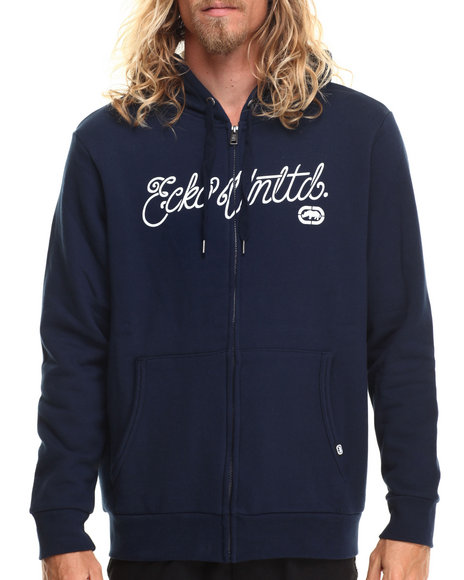 Ecko - Men Navy Scripted Fleece Zip Hoodie