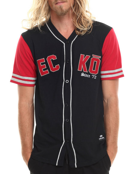 Ecko - Men Black Ecko Baseball Knit Jersey
