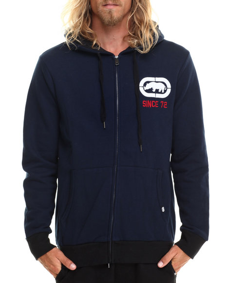 Ecko - Men Navy Fleece Zip Hoodie