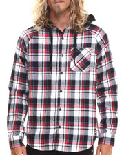 Ecko - Flannel Jersey Lined Hooded L/S Button-Down