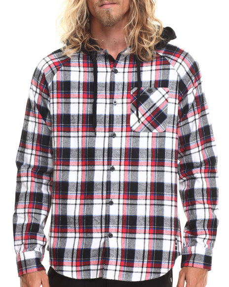 Ecko - Men Red Flannel Jersey Lined Hooded L/S Button-Down
