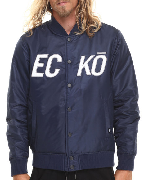 Ur-ID 186352 Ecko - Men Navy Satin Jacket With Ecko Chest Logo