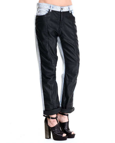 Ur-ID 186167 Evil Twin - Women Black,Light Wash Bad Boys Faux Leather Moto Jeans