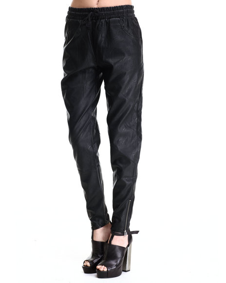 Ur-ID 186168 MINKPINK - Women Black Out Bound Faux Leather Jogger