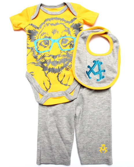 Akademiks - Boys Yellow 3 Pc Set -  Bodysuit, Pants, & Bib (Newborn) - $17.99