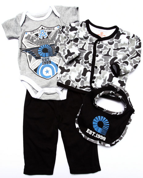 Akademiks - Boys Camo,Grey 4 Pc Set - Camo Cardigan, Bodysuit, Pants, & Bib (Newborn)