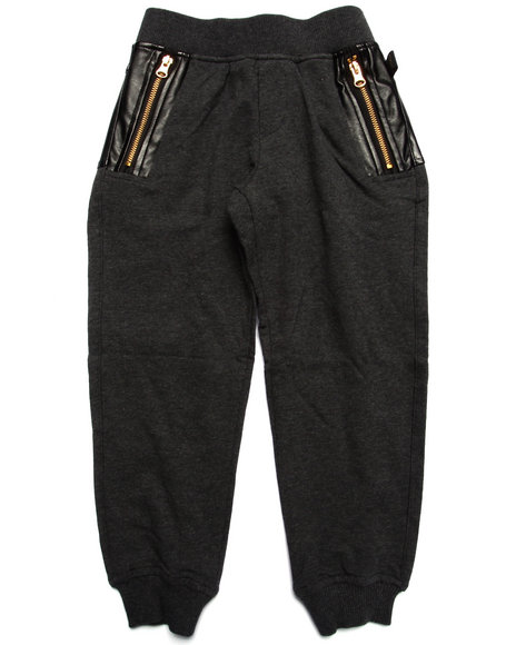 Akademiks - Boys Grey Pu Knit Jogger (4-7)