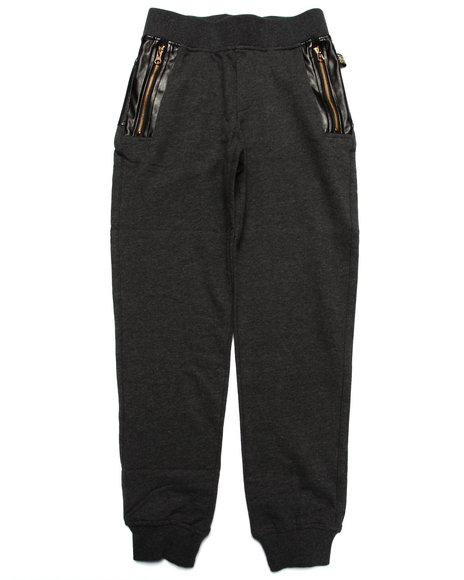 Akademiks - Boys Grey Pu Knit Jogger (8-20)