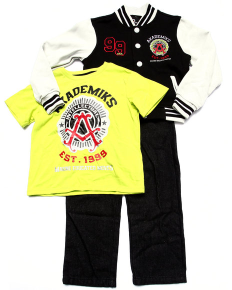 Akademiks - Boys Lime Green,Black 3 Pc Set - Varsity Jacket, Tee, & Jeans (4-7)