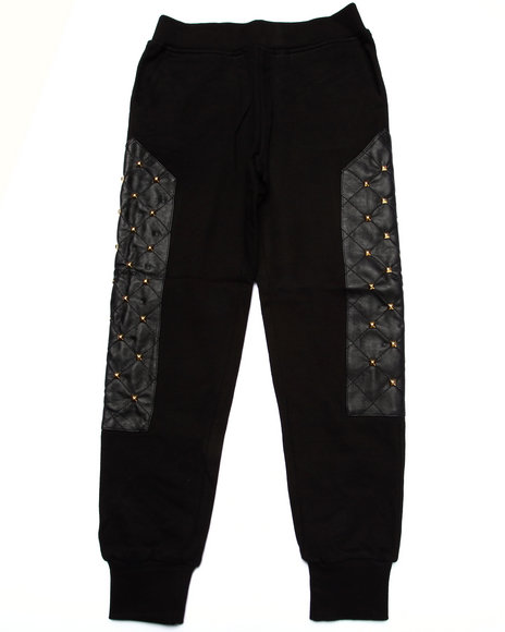 Akademiks - Boys Black Pu Studded Sweatpants (8-20)