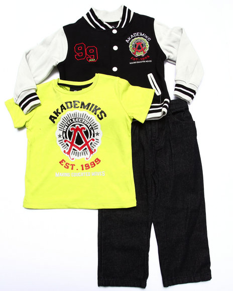 Akademiks - Boys Lime Green,Black 3 Pc Set - Varsity Jacket, Tee, & Jeans (2T-4T)