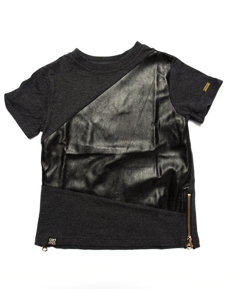 Akademiks - Boys Grey Pu Crew Neck Tee (4-7)