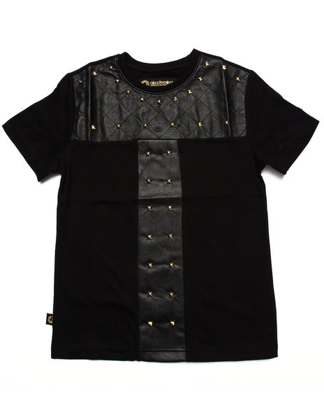 Akademiks - Boys Black Quilted Studded Tee (8-20)