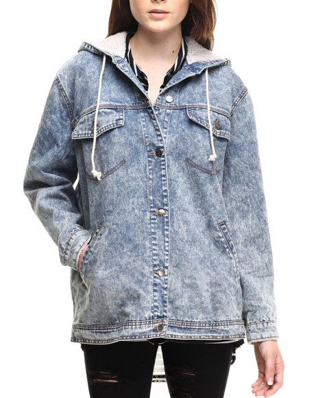 Evil Twin - Women Medium Wash Hood Rat Denim Jacket - $55.99