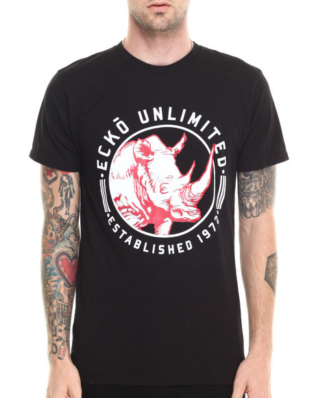 Ecko - Men Black Woodblock Rhino T-Shirt - $12.99