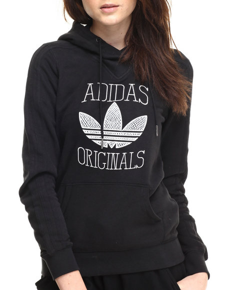 Adidas - Women Black Slim Graphic Hoodie