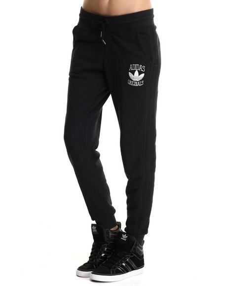 Adidas - Women Black Cuffed Slim Track Sweat Pants