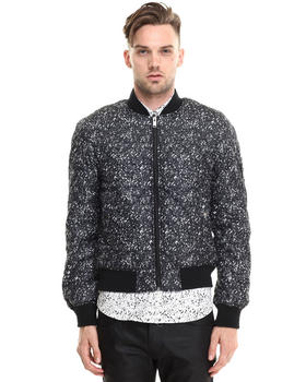 -FEATURES- - Snow Print Quilted Bomber