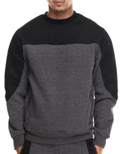 Men - Fleece Crewneck Sweatshirt W/ Neoprene / Air Mesh Trim