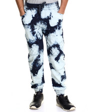 Men - Acid Wash Quilt - Trimmed Knit Joggers