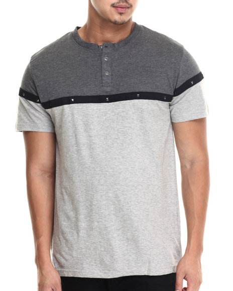 Buyers Picks - Men Grey Metal Studs Henley S/S Tee