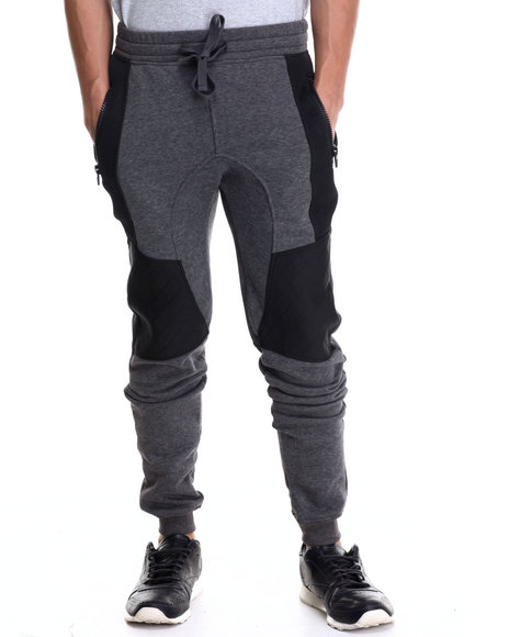 Buyers Picks - Men Grey Fleece Joggers W/ Neoprene / Air Mesh Trim