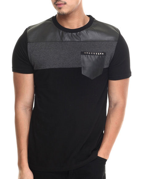 Buyers Picks - Men Black Faux Leather Pocket S/S Tee