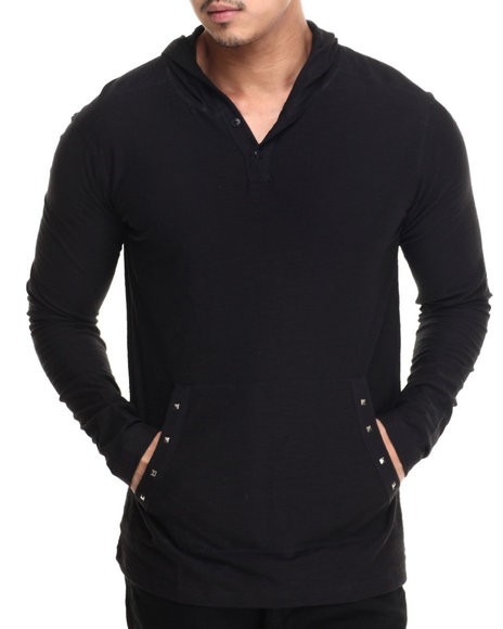 Buyers Picks - Men Black Studded Front Pocket Pullover Hoody