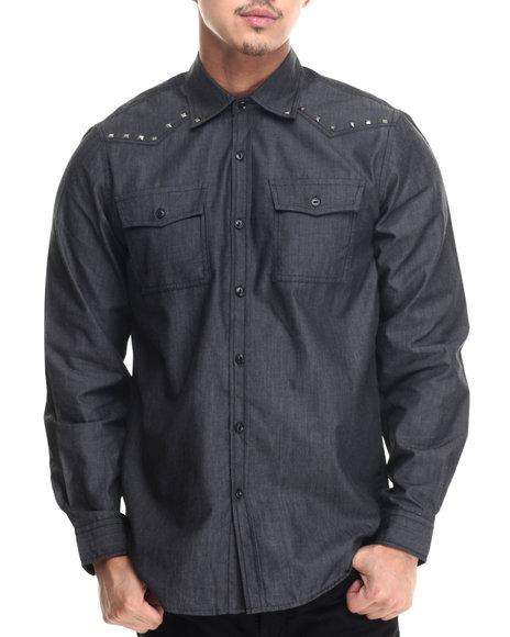 Buyers Picks - Men Grey Cash $ Studded Shoulder Yoke L/S Button Down Shirt