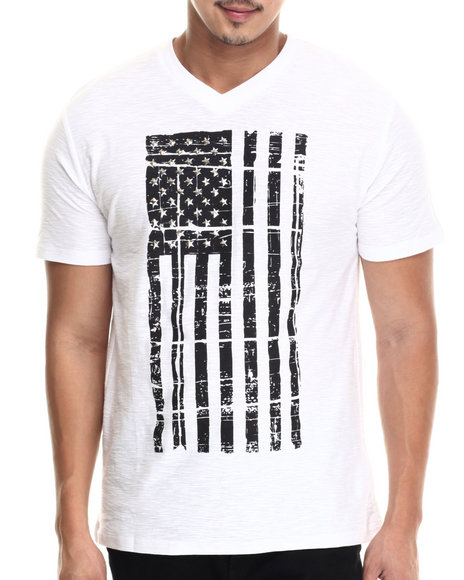 Buyers Picks - Men White Patriots V-Neck S/S Tee