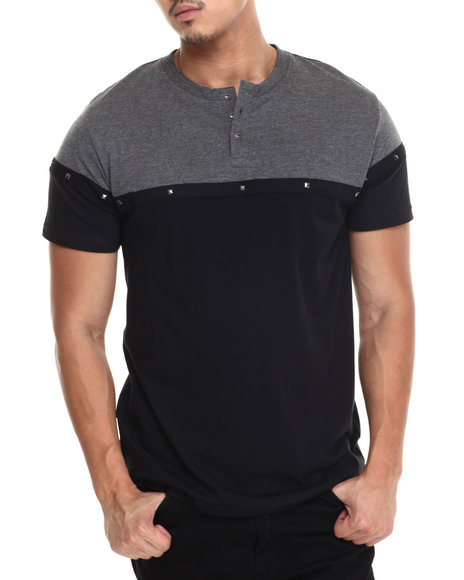 Buyers Picks - Men Black Metal Studs Henley S/S Tee