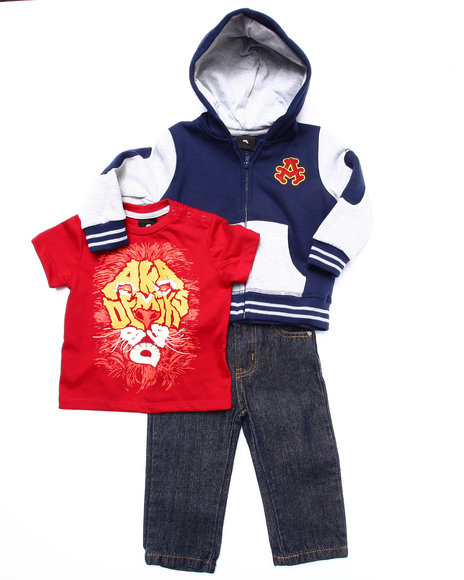 Akademiks - Boys Navy 3 Pc Set - Varsity Hoody, Tee, & Jeans (Infant) - $25.99